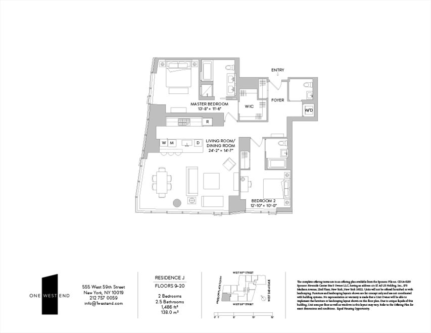 New York City Real Estate | View 1 West End Avenue, #14J | Floorplan