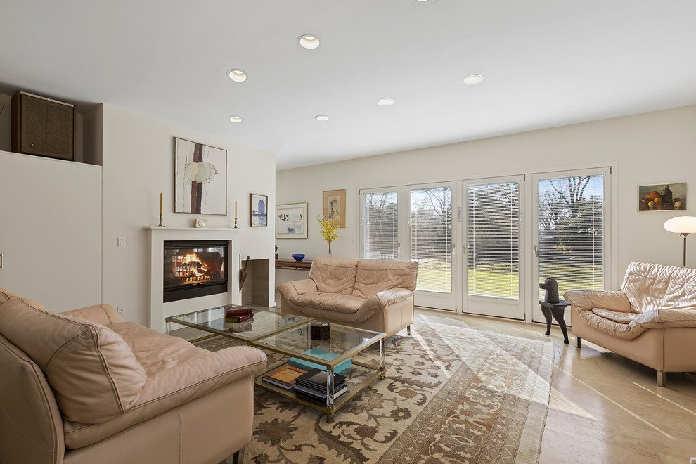 Living room with double sided fireplace