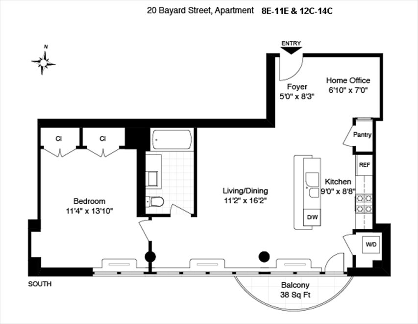 New York City Real Estate | View 20 Bayard Street, #12C | Floorplan