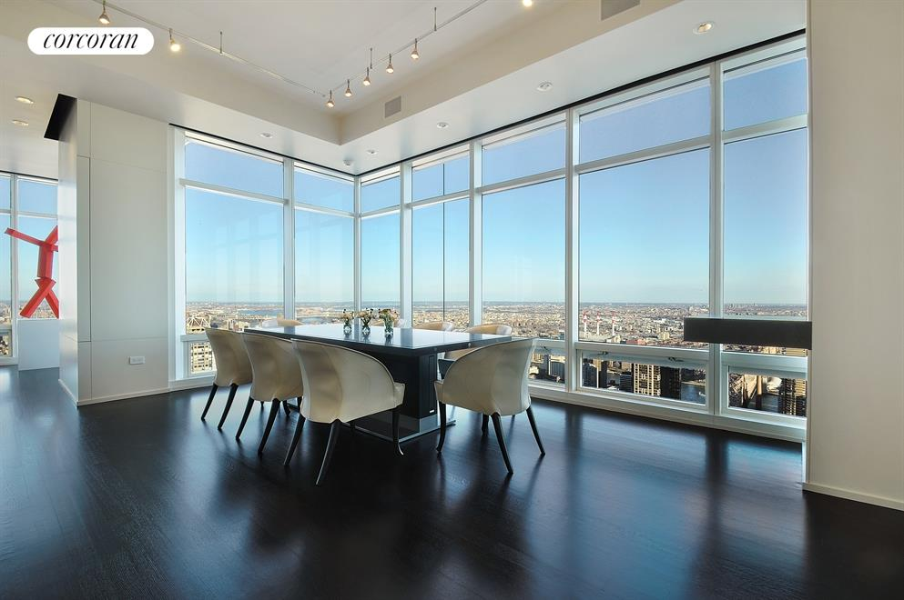 Grand dining room overlooking a full cityscape