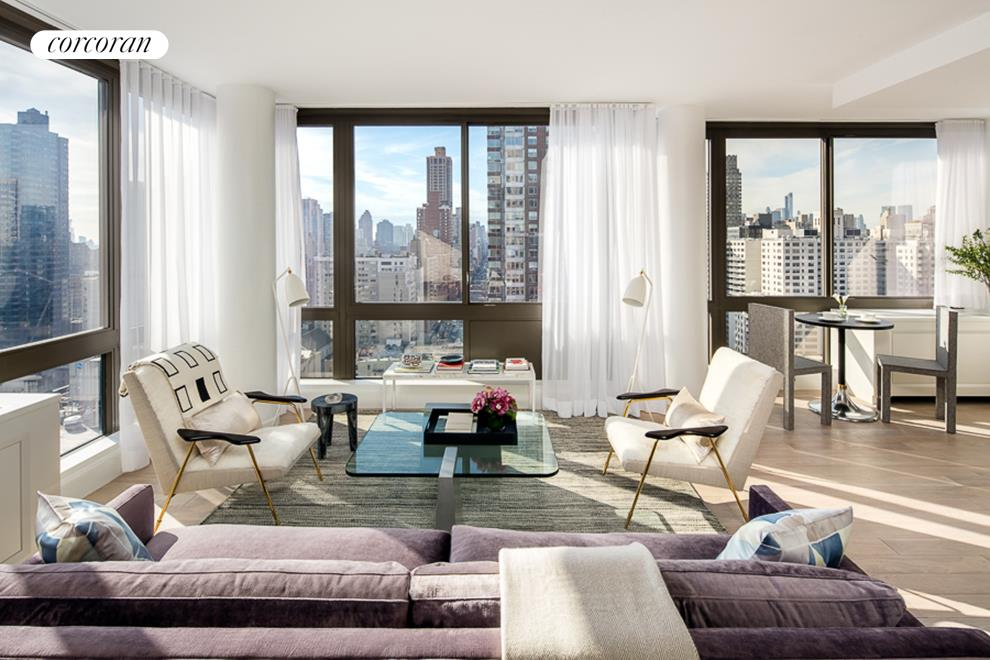 389 East 89th Street, 26B, Corner Living Room with Floor-to-Ceiling Windows