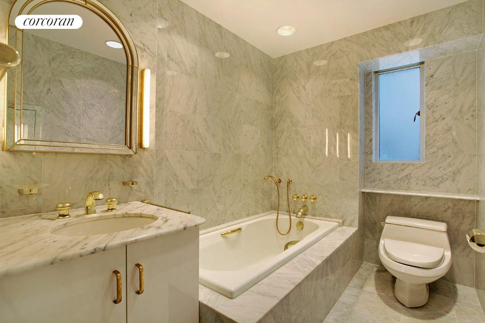 Marble Windowed Bath with Tub and Separate Shower