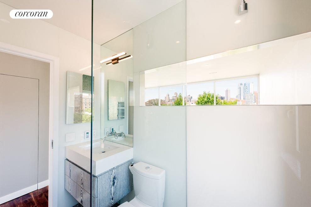 Master bath with skyline view from shower