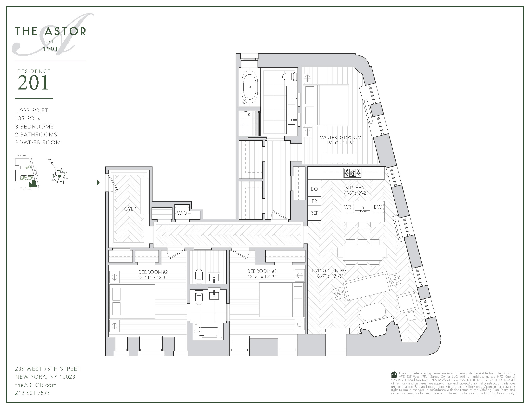 Floor plan of The Astor, 235 West 75th St, 201 - Upper West Side, New York
