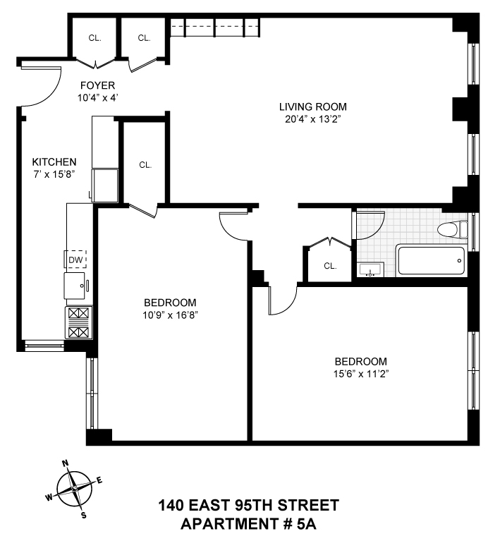 Floor plan of 140 East 95th Street, 5A - Upper East Side, New York