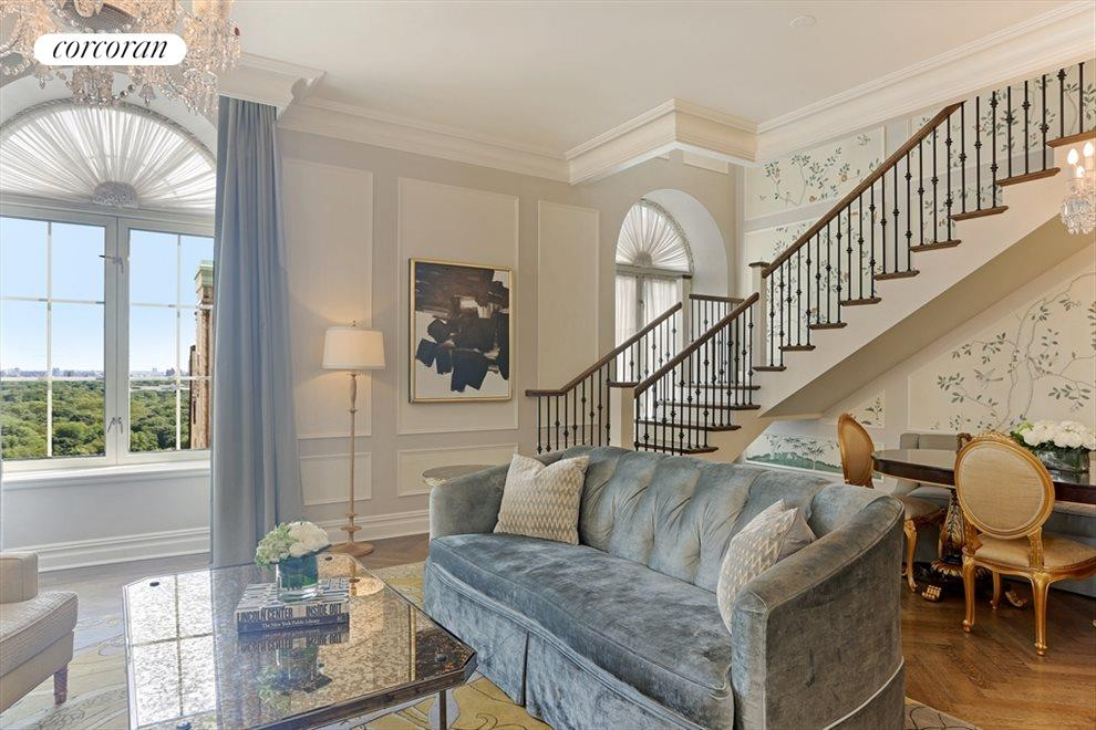 New York City Real Estate | View 768 Fifth Avenue, #PH2040 | Living room and dining area