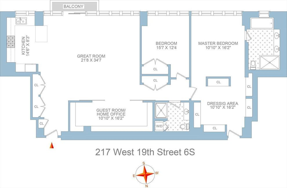 New York City Real Estate | View 217 West 19th Street #6S | Floorplan