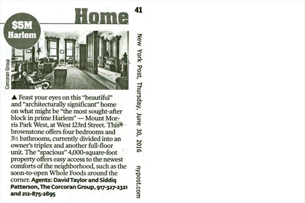 Dream Homes: Harlem - $5M, Real Estate News, Press, Articles, Blogs