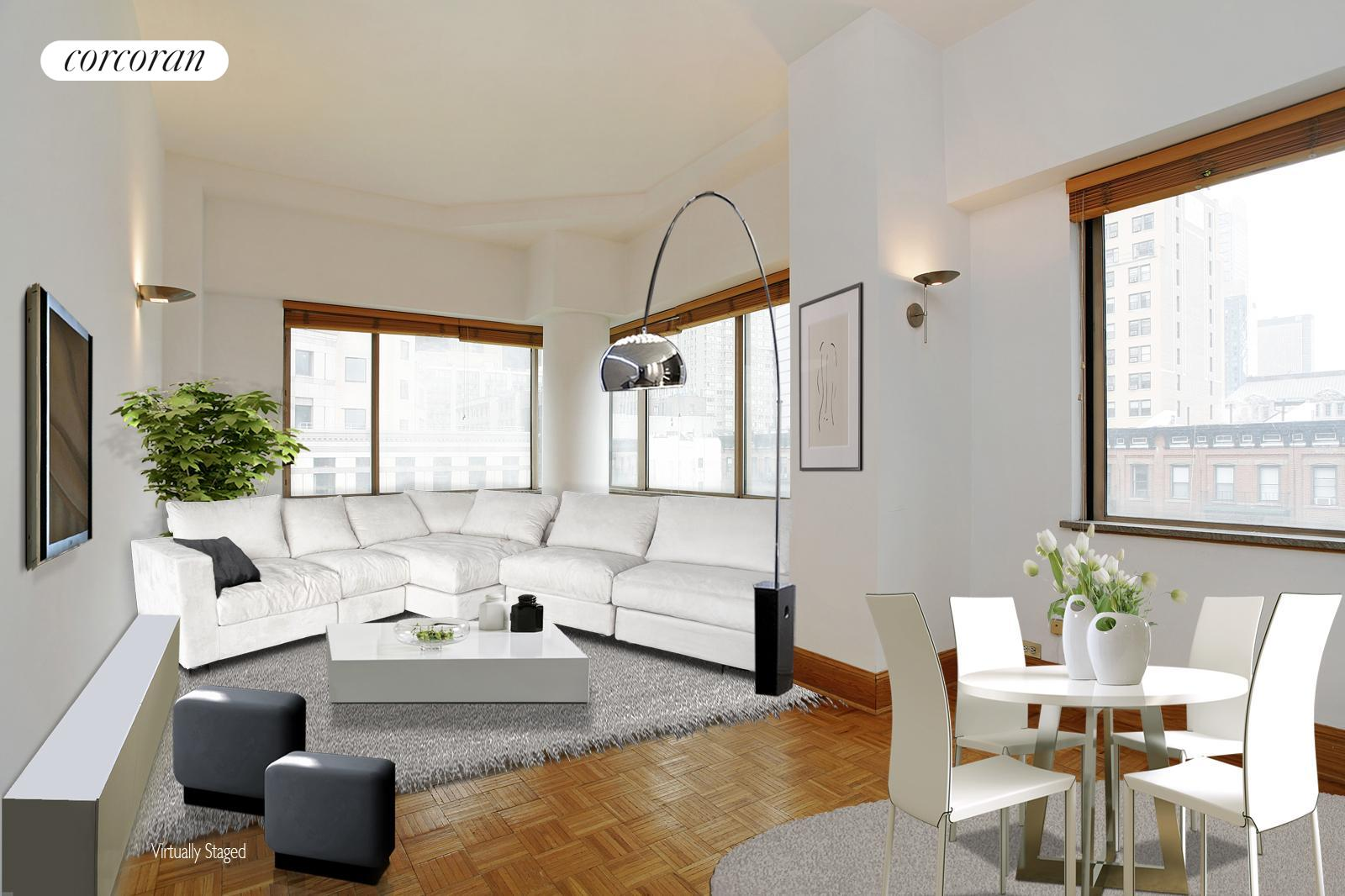 350 West 50th Street, 6K, Virtually staged Living/Sleeping