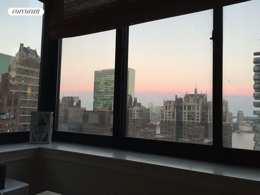 Beautiful evening view & East River in Living Room