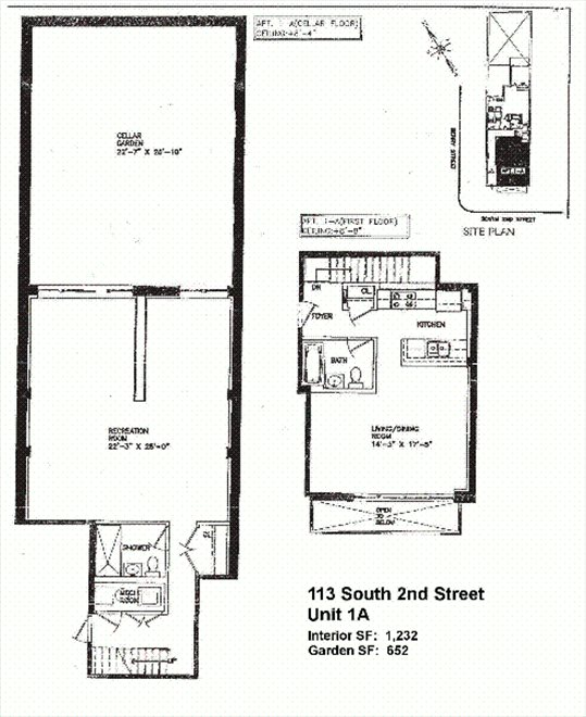 New York City Real Estate | View 113 South 2nd Street, #1A | Floorplan