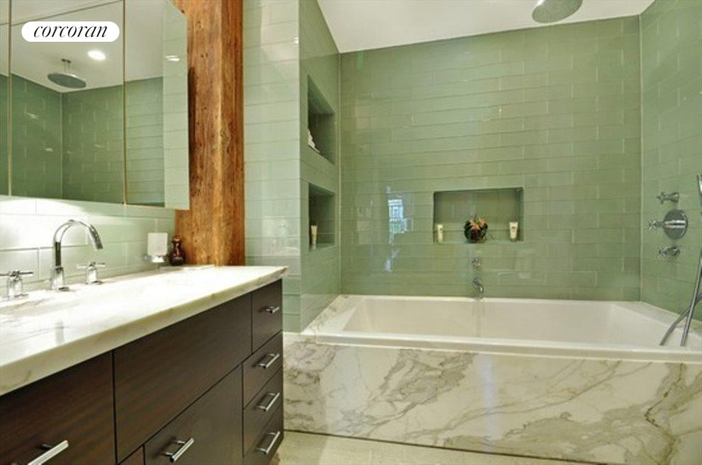 Marble and Glass Master Bathroom