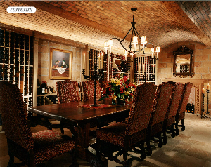 The wine cellar tasting room with fireplace and custom furnitre has a 4,000 bottle capacity