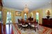 Formal dining room can host large dinner parties