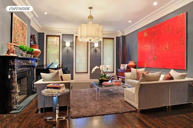 65 East 90th Street, Elegant Living Room with 14' Ceilings. WBFPL