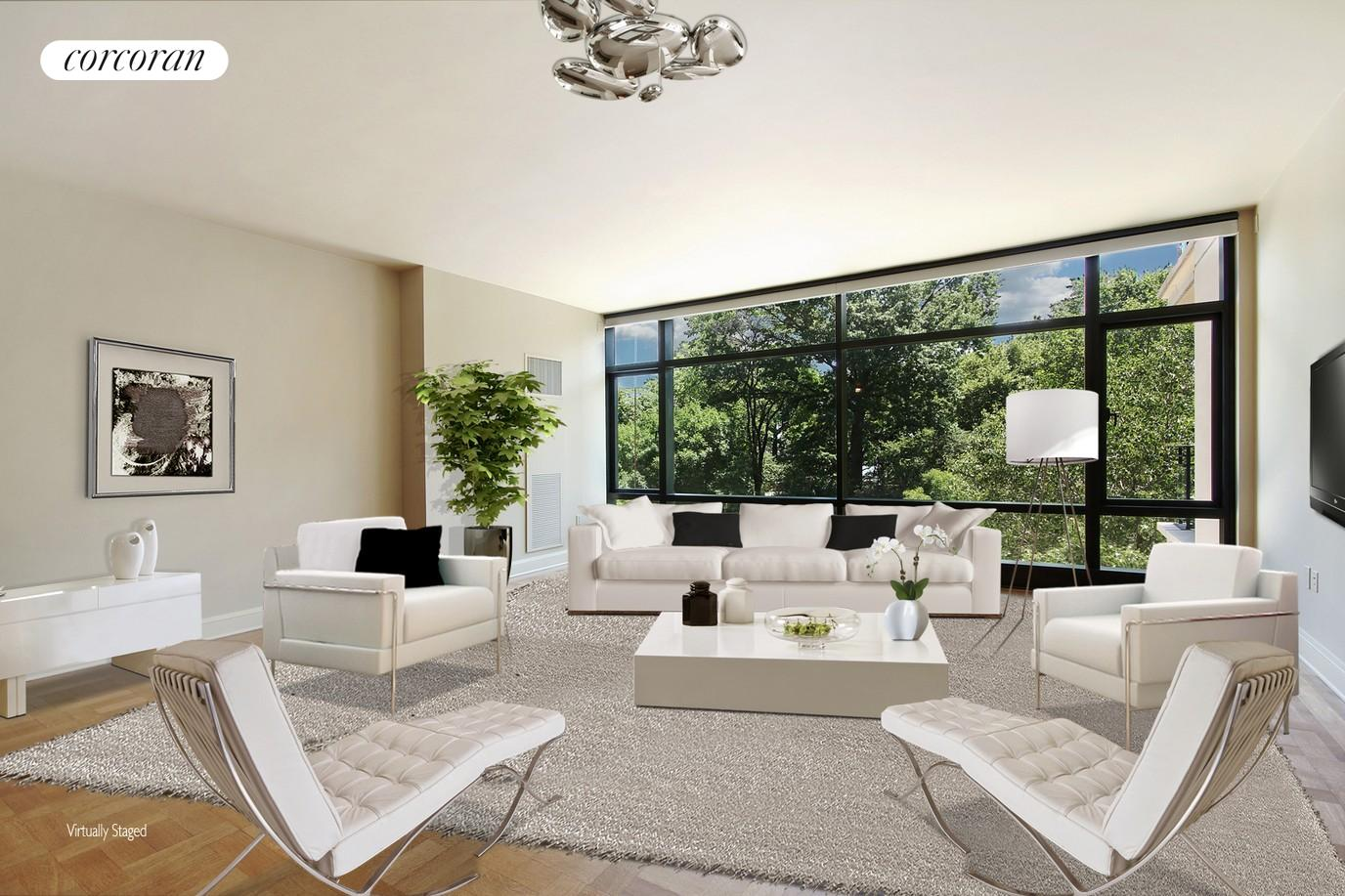 Living Room with Park Views