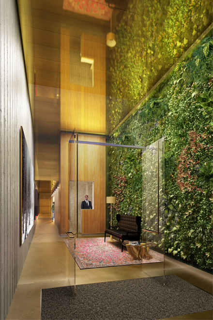 Serene Lobby with 17' Vertical Garden Wall