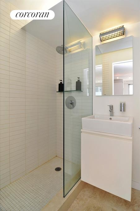 Bathroom With Duravit Fixtures and Rainfall Shower