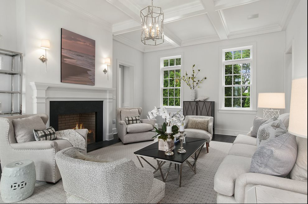 The Hamptons Real Estate | View 60 Herrick Road | Living Room With Fireplace View 2