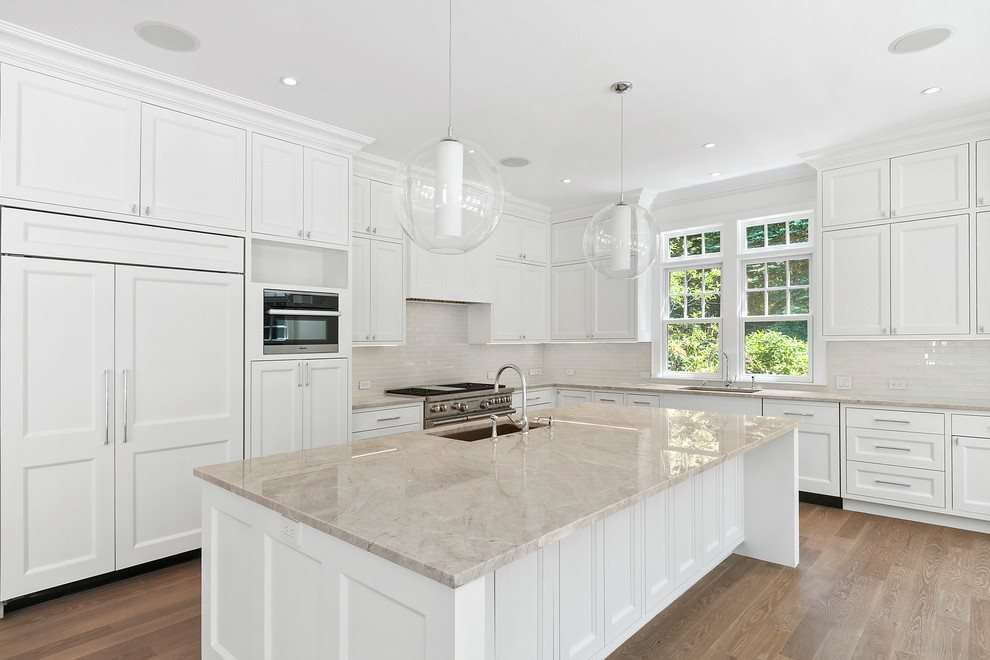 Brand new kitchen with quartzite counters