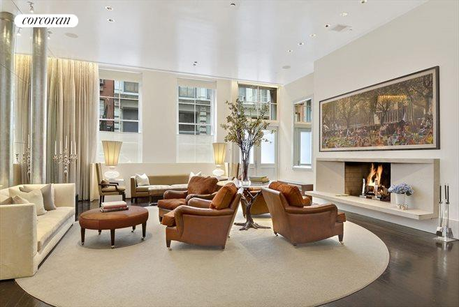 30 Crosby Street, M1, Grand living room with wood burning fireplace.