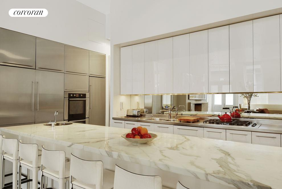 Large chef's kitchen with designer appliances.