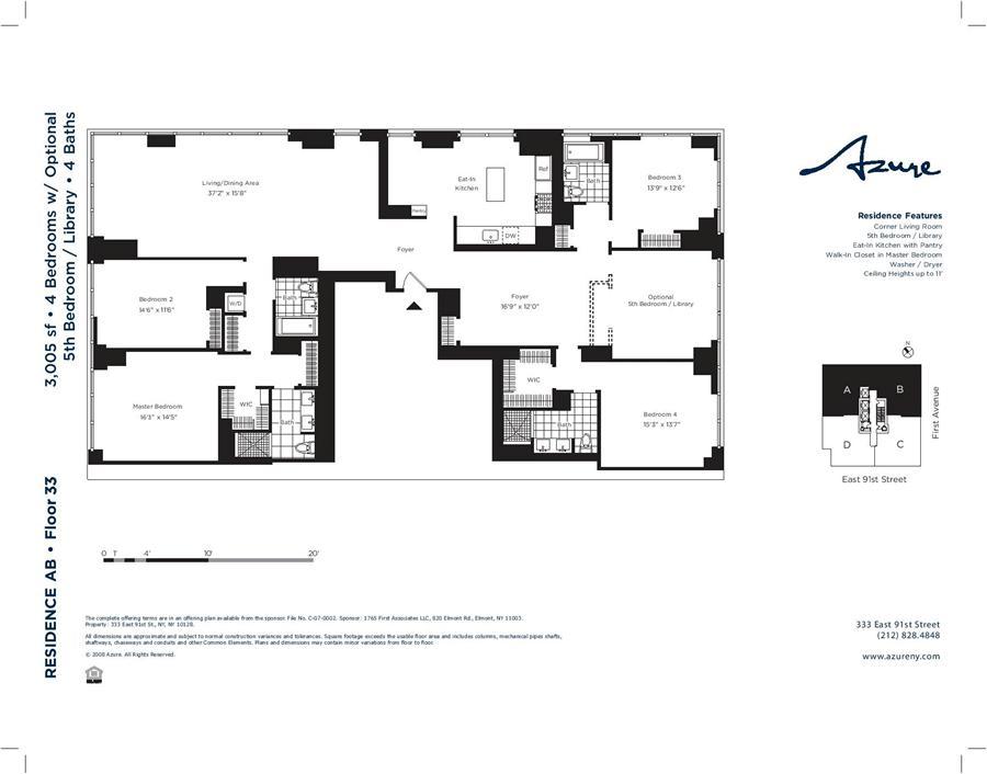 Floor plan of AZURE, 333 East 91st Street, 33AB - Upper East Side, New York