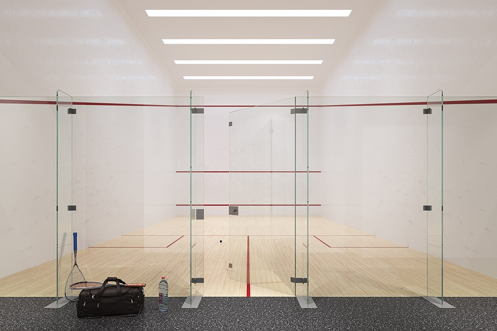 Regulation-sized Squash Court