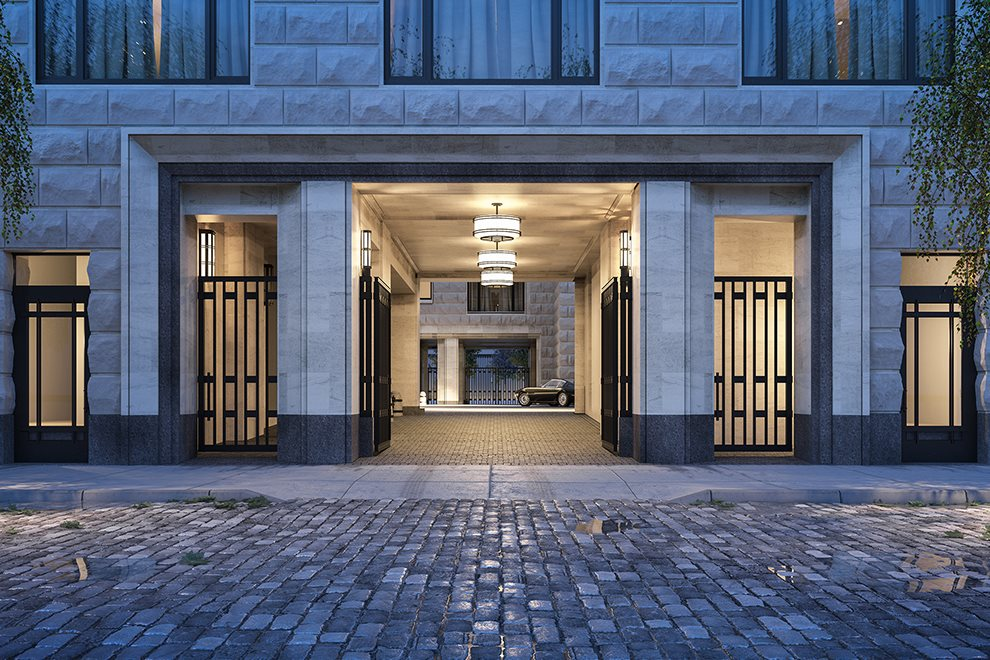 New York City Real Estate | View 70 VESTRY ST, #3F | Gated Porte-Cochère with Staffed Sentry