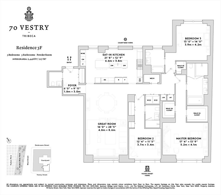 New York City Real Estate | View 70 VESTRY ST, #3F | Floorplan