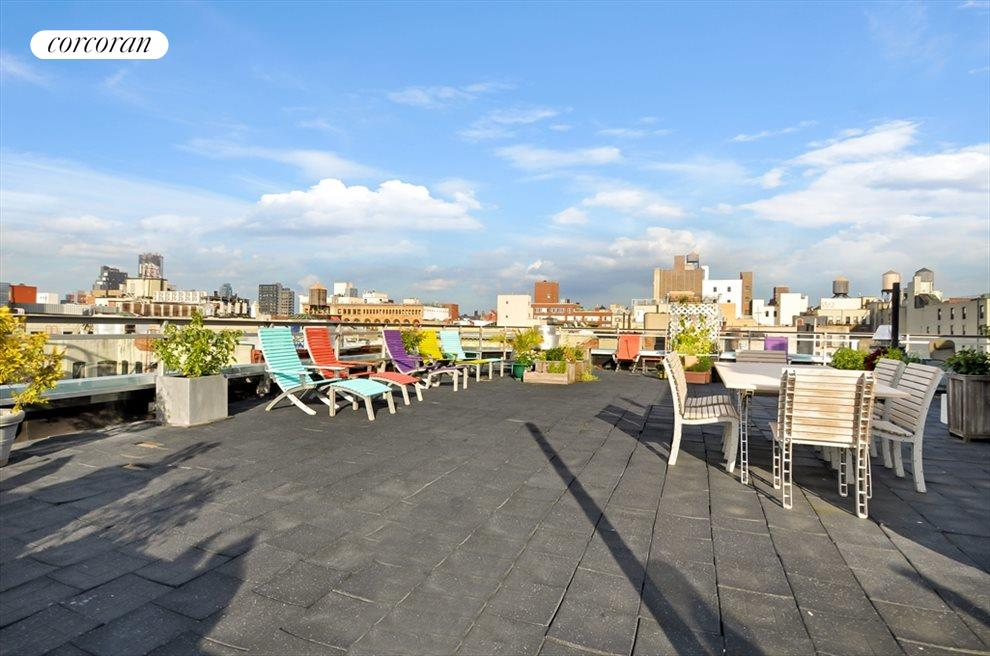 Large roof deck with skyline views