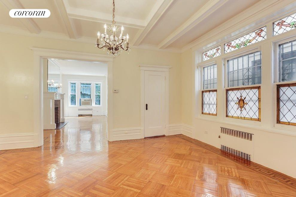 New York City Real Estate | View 9 Martense Court | Dining Room with Stained Glass Windows
