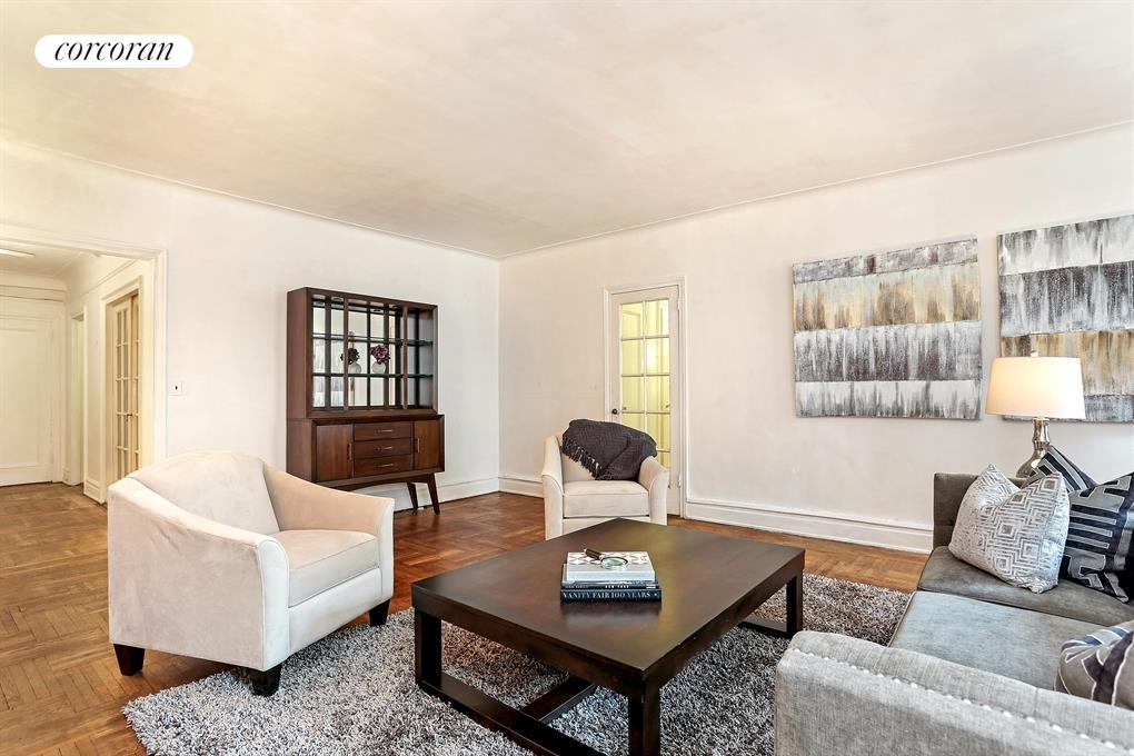 10 East 85th Street, 8B, North facing living room with oversized windows