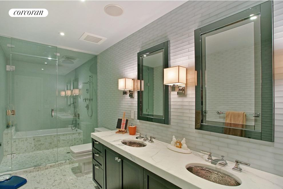 Master bath includes heated floors and wet room