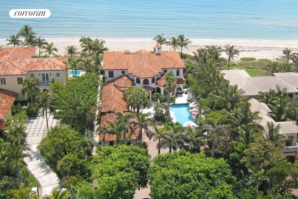 Aerial of large property, gated and direct ocean