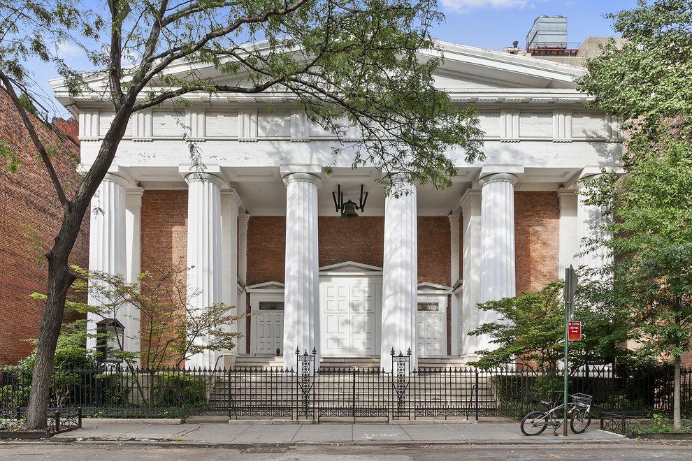 Historic Greek Revival church facade