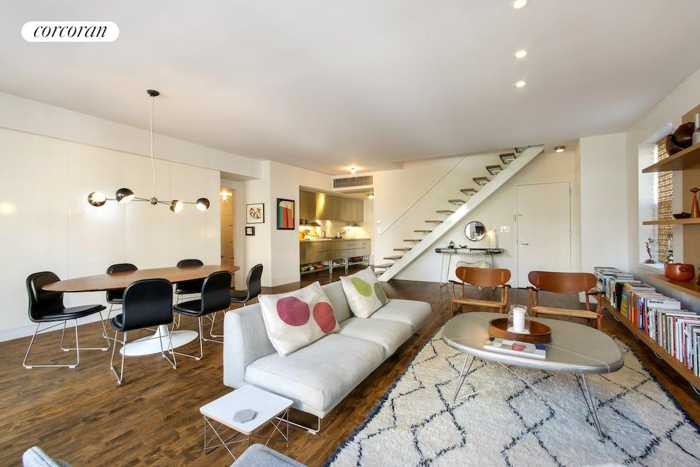 Living/dining with open stairs