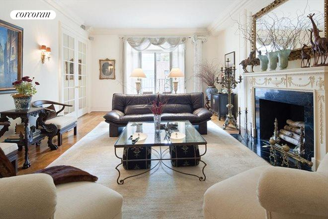 12 East 87th Street, 8A, Original herringbone wood floors & juliet balcony.