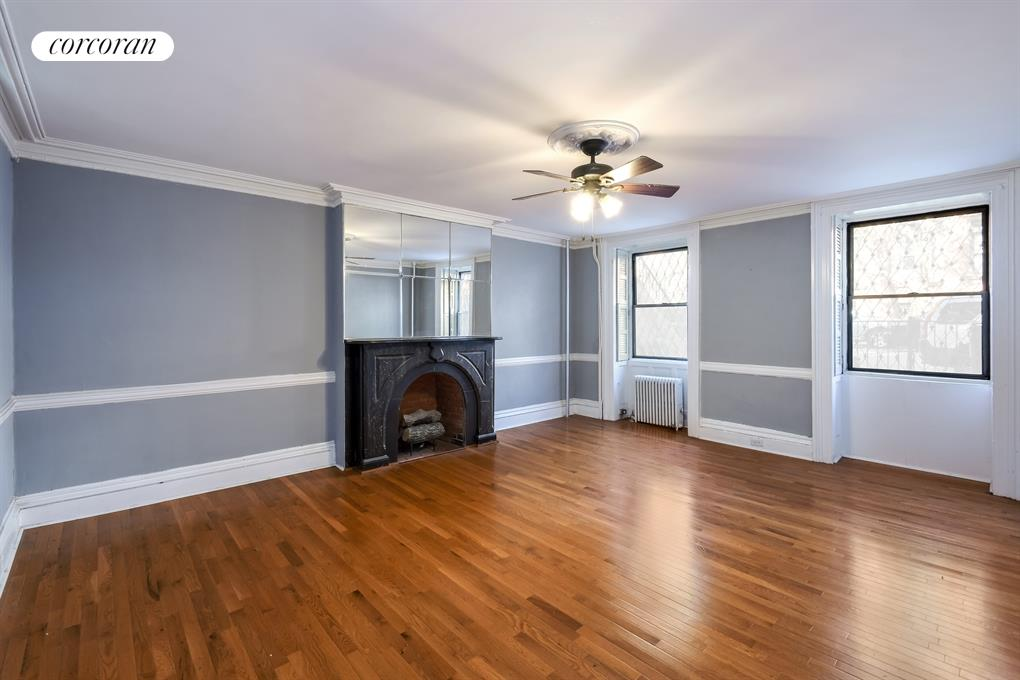 136 Amity Street, Garden, Living Room with Black Marble Fireplace