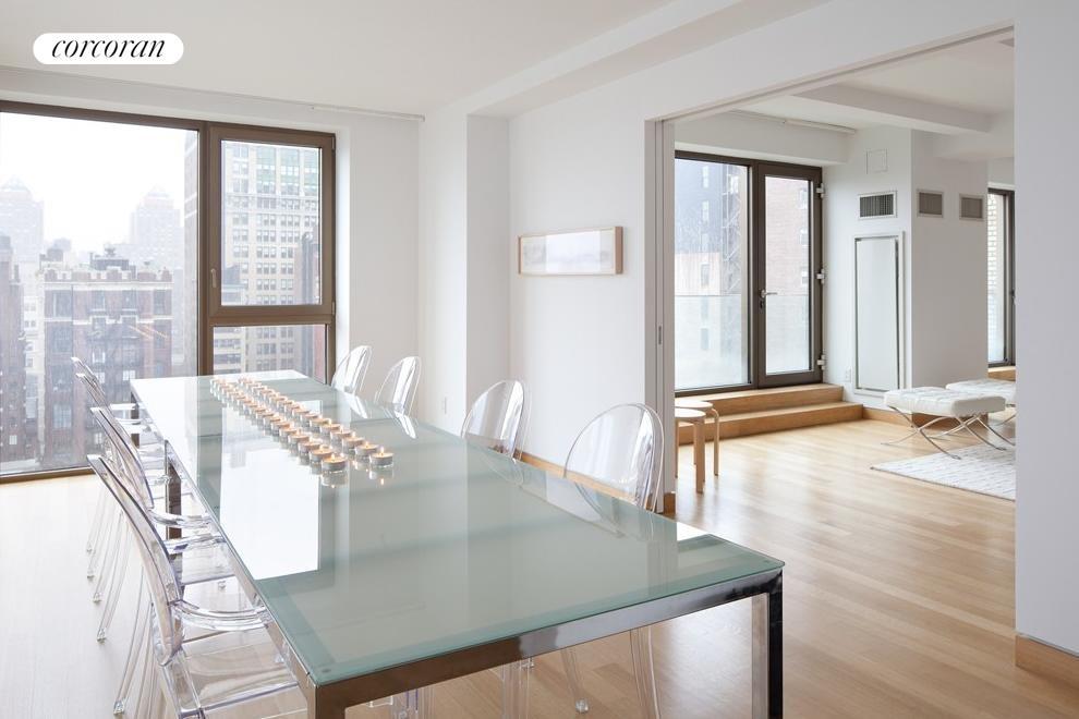Corner dining room overlooking Gramercy Park.