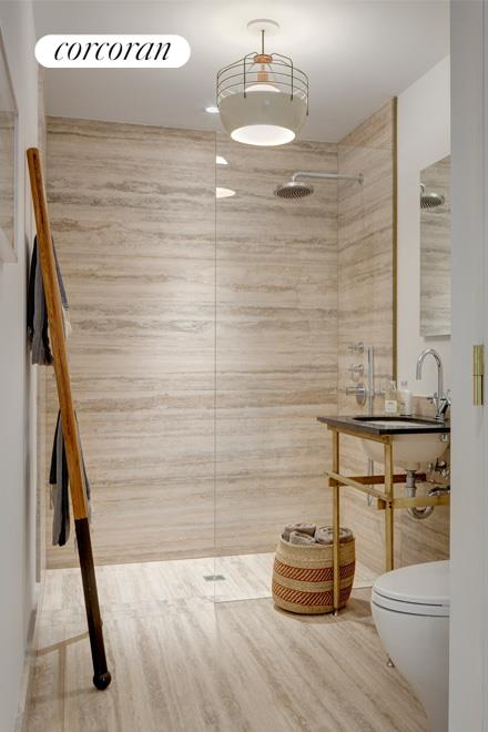 Wet room bath with Spanish Travertine marble