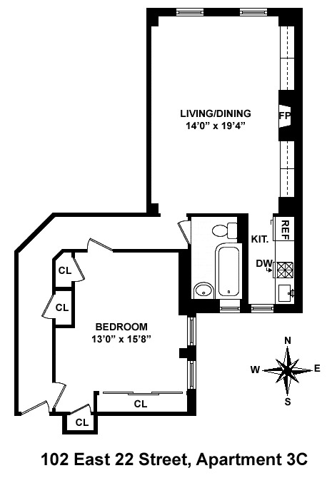 Floor plan of 102 East 22nd Street, 3C - Gramercy - Union Square, New York