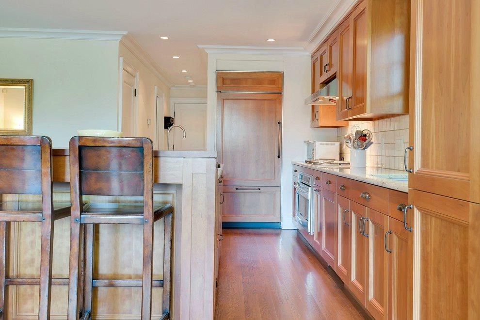 Sleek kitchen with wine cooler