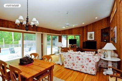 The Hamptons Real Estate | View 29 North Hollow Drive | living room with fireplace