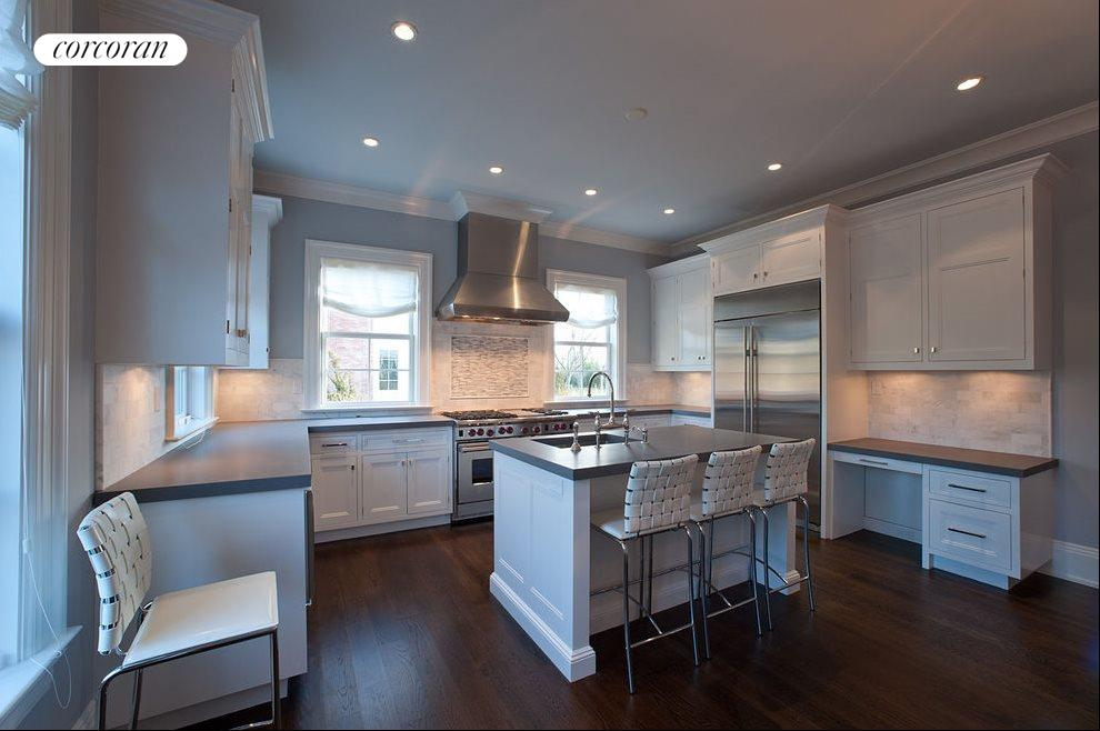 Stainless appliances, marble counters
