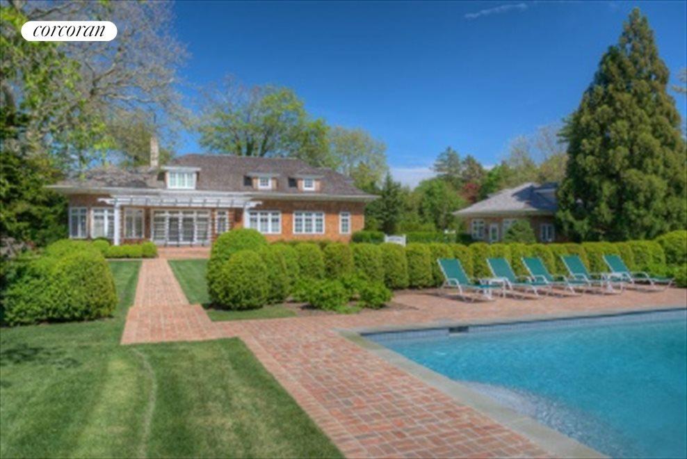 Heated Gunite Pool, Brick Terrace in Boxwood Garden
