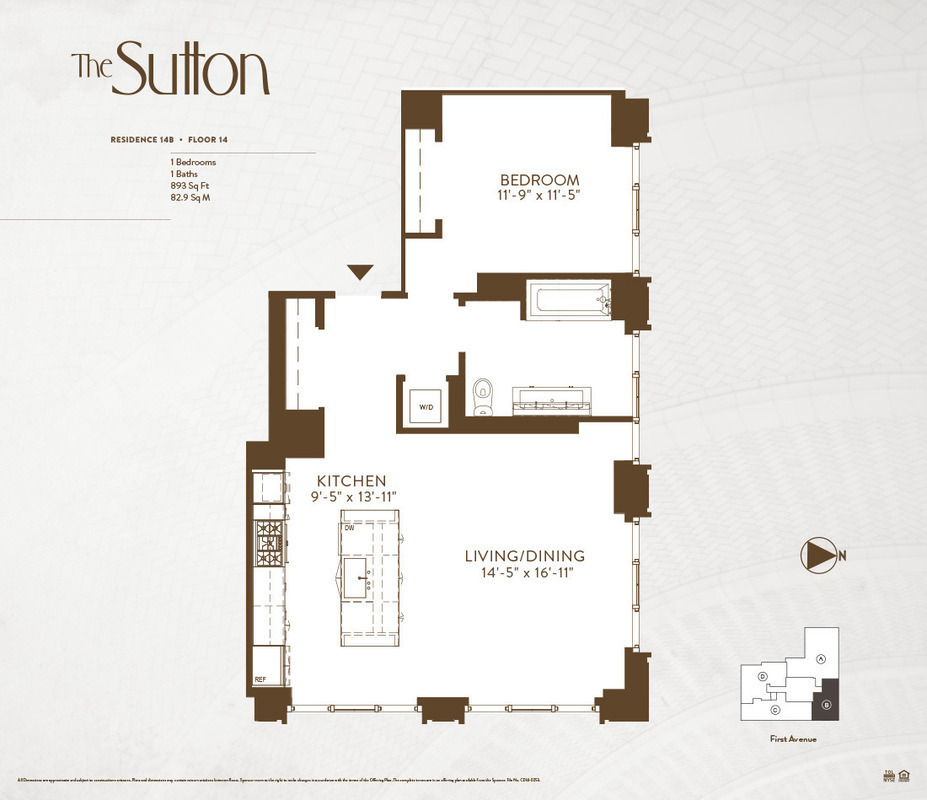 Floor plan of The Sutton, 959 First Avenue, 10B - Turtle Bay, New York