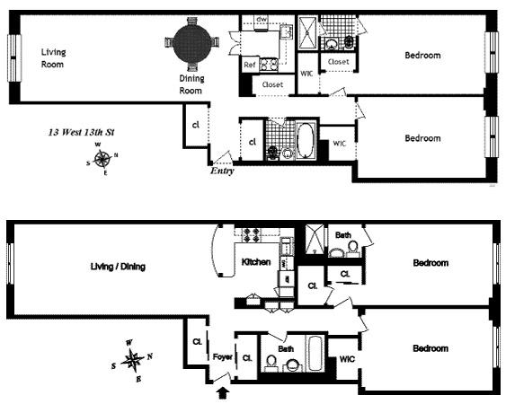 Floor plan of NORVILLE HOUSE, 13 West 13th St, 4GS - Greenwich Village, New York