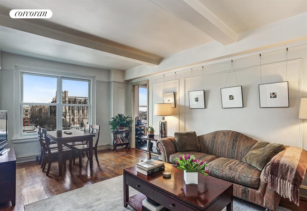200 West 108th Street, 12B, North-facing Living Room with cathedral views