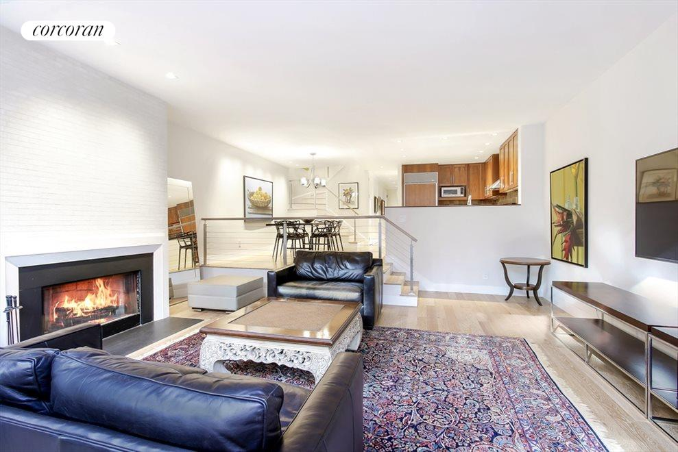 Spacious Step-Down Living Room w/ WB Fireplace